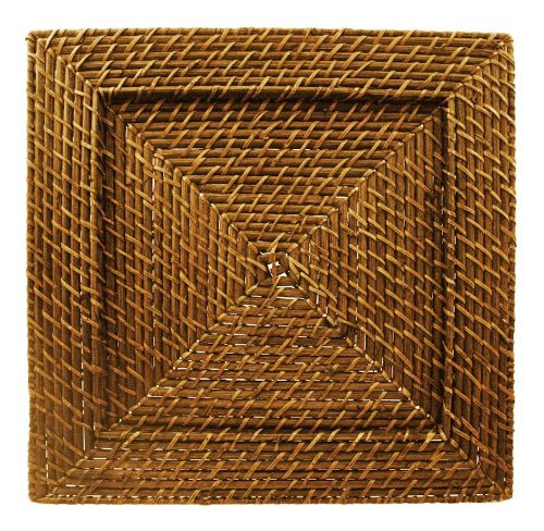 Square Honey Harvest Rattan Charger Plate (Square Charger Rattan Plates)