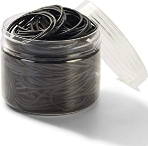 Rubber Bands 300pcs Black Small Rubber Bands for Office School Home size16 Elastic Hair Band