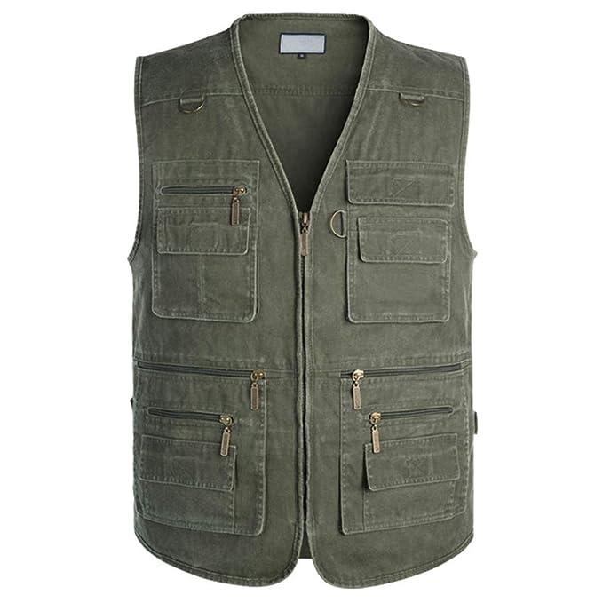 AIVTALK Aitalk Herren Weste Ärmellos Westen Zip Up Sport Outwear mit Reißverschluss Outdoor Weste Baumwolle Jacke mit Vielen Praktischen Taschen Größe