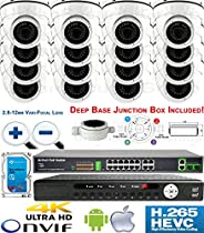 USG Sony DSP 3MP 16 Camera Security System H.265 Ultra 4K PoE IP CCTV Kit : 16x 3MP 2.8-12mm 5MP Dome Camera + 1x 36 Channel 8MP NVR + 1x 18 Port PoE Network Switch + 1x 4TB HDD : Business Grade