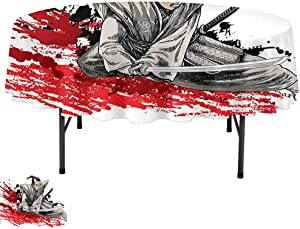 Aishare Store Table Cloth, D67 Inch Dinner Table Cover for Buffet Table, Japanese Decor Collection A Warrior Holding a Katana in Ninja Clothes on Grunge Background Ancient Battle Theme Red Brown