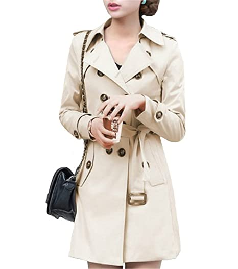 LOKOUO Women Double Breasted Slim Fit Long Spring Coat Feminino Abrigos Mujer Autumn Outerwear Z505 BlackSmall