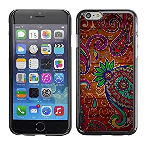 FECELL CITY // Duro Aluminio Pegatina PC Caso decorativo Funda Carcasa de Protección para Apple Iphone 6 Plus 5.5 // Henna Tattoo Colorful Colors Flowers