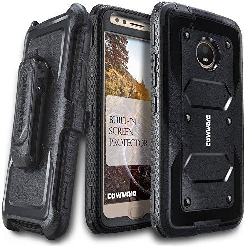 Moto E4 Case, COVRWARE [Aegis Series] w/Built-in [Screen Protector] Heavy Duty Full-Body Rugged Holster Armor Case [Belt Swivel Clip][Kickstand] for Moto E (4th Generation), Black