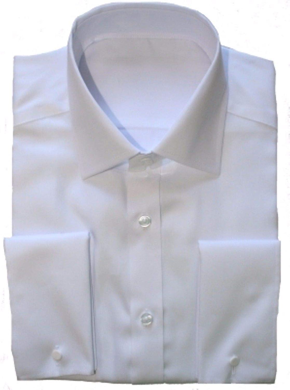 Ex-Store - Camisa para hombre, doble, francesa, color blanco