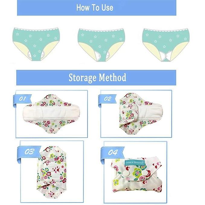 9PCS toallas sanitarias compresa menstrual reutilizable lavable Capa para evitar fugas, olores y manchas para mujeres menstruantes, embarazadas,lactantes: ...