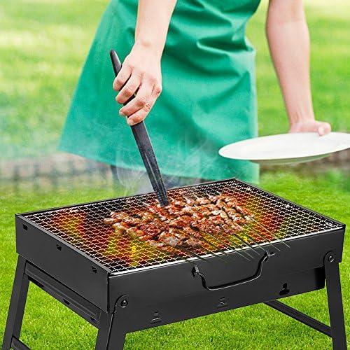 AGM Barbecue à Charbon, 435x300x240 mm, BBQ Grill Démontable Pliable Portable en Acier pour Pique-Nique, Voyage, Jardin, Camping