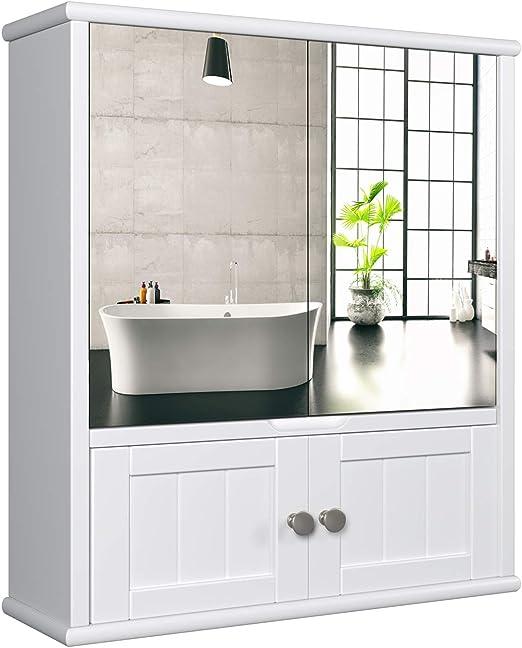 HOMECHO Spiegelschrank Badschrank mit Spiegel Bad Hängeschrank mit Ablage  Schminkschrank aus Holz Badspiegelschrank Wandschrank in Weiß 60 * 54.5 *  ...