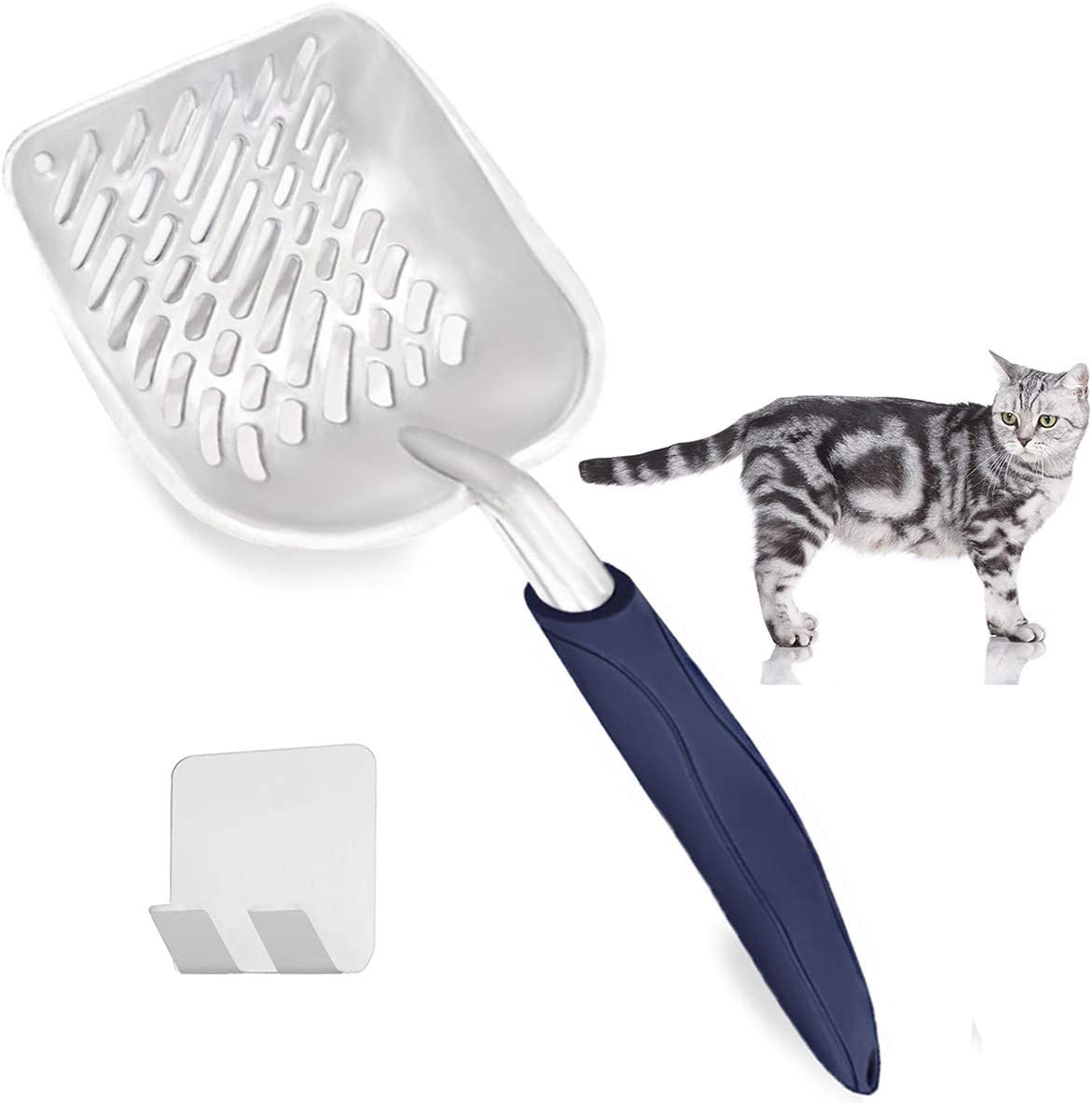 Durable Aluminum Cat Litter Sifter with Deep Shovel Non-Stick Metal Cat Litter Scooper with Solid Holder VehiGO Metal Cat Litter Scoop with Long Handle Kitty Litter Scoop for Sifting Cat Litter