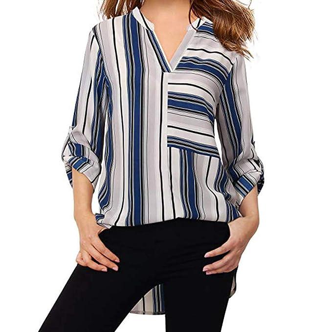 0c912477b ZODOF Blusa Mujer Chiffon Camisa De Manga Larga Elegante Colorido a Rayas  Cuello V Camisas Camisa de Mujer Top a Rayas Informal Top Blusa: Amazon.es:  Ropa y ...