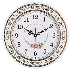 Tebery Silent Modern Quartz Flower Design Decorative Wall Clock Non-Ticking Digital 11-Inch Clock (White)