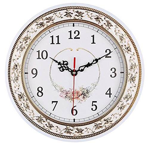 (Tebery Silent Modern Quartz Flower Design Decorative Wall Clock Non-Ticking Digital 11-Inch Clock (White))