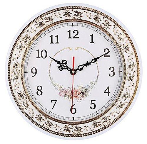 - Tebery Silent Modern Quartz Flower Design Decorative Wall Clock Non-Ticking Digital 11-Inch Clock (White)