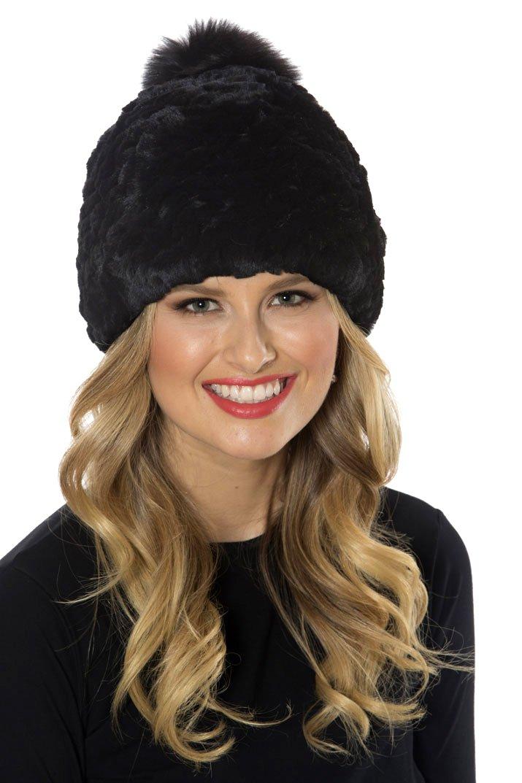 Madison Avenue Mall Black Stretch Knitted Rex Rabbit Fur Hat - Pom Pom