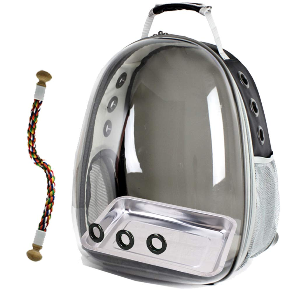 halinfer Bird Carrier, Space Capsule Bubble Bird Travel Backpack with Stainless Steel Tray and Standing Perch (Black) by halinfer