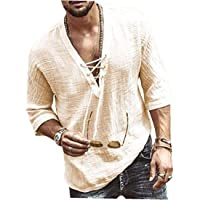 EElabper Camiseta de lino de algodón para hombre, informal, manga 3/4, para playa, hippie, yoga, con cordón, con…