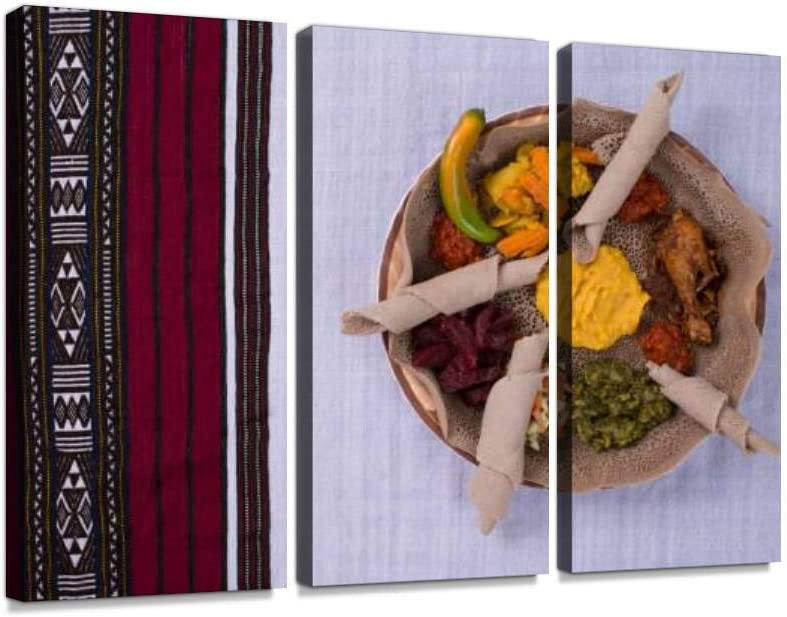 YKing1 Plate of Ethiopian Food Injera Wall Art Painting Pictures Print On Canvas Stretched & Framed Artworks Modern Hanging Posters Home Decor 3PANEL