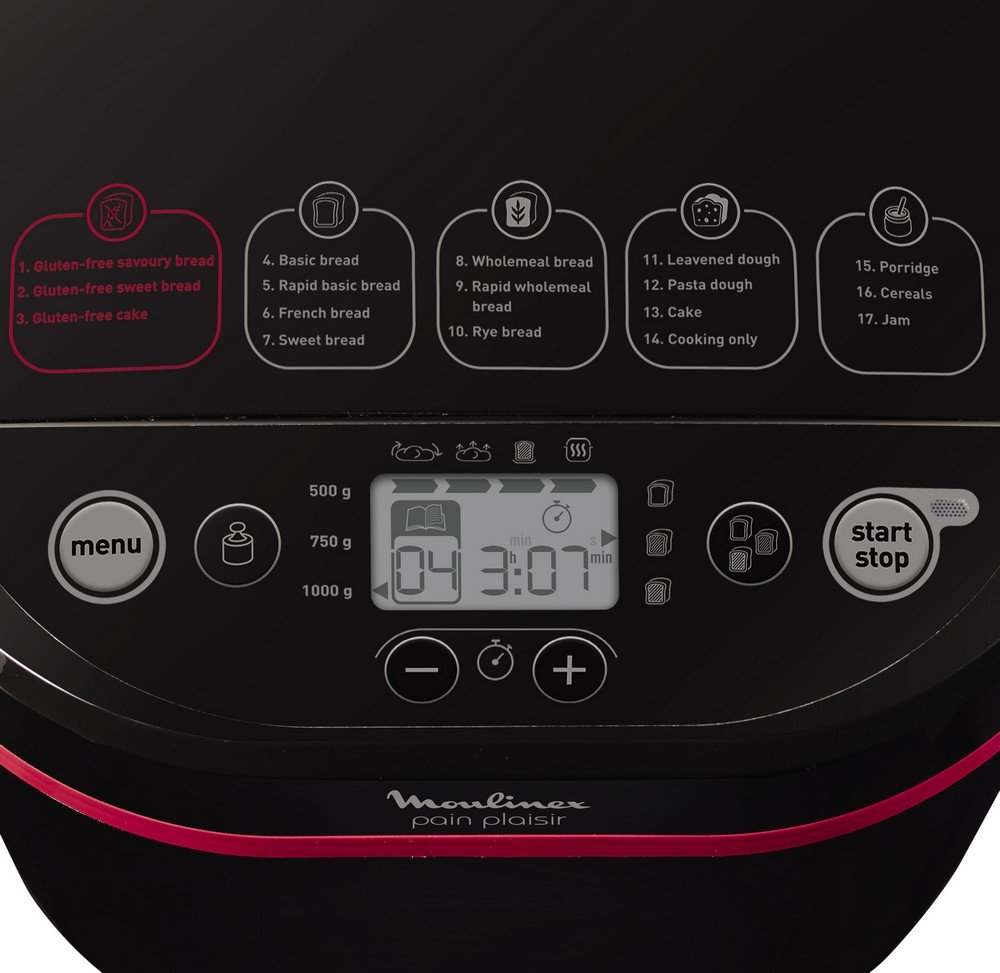 Moulinex OW2208 Negro 650W - Panificadora (De plástico, Negro, 1 kg, Pastel de masa, Masa, Pan francés, Pan sin gluten, 500 g, 15 h): Amazon.es: Hogar