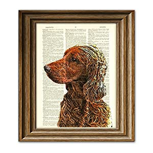 Irish Setter dog beautifully upcycled vintage dictionary page book art print 3