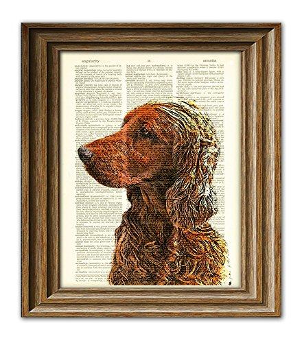 (Irish Setter dog beautifully upcycled vintage dictionary page book art print)
