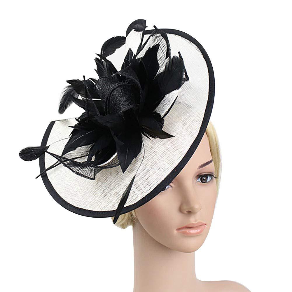 ACTLATI Women's Sinamay Fascinator Hat Vintage Feather Flower Tea Party Cocktail Top Hat