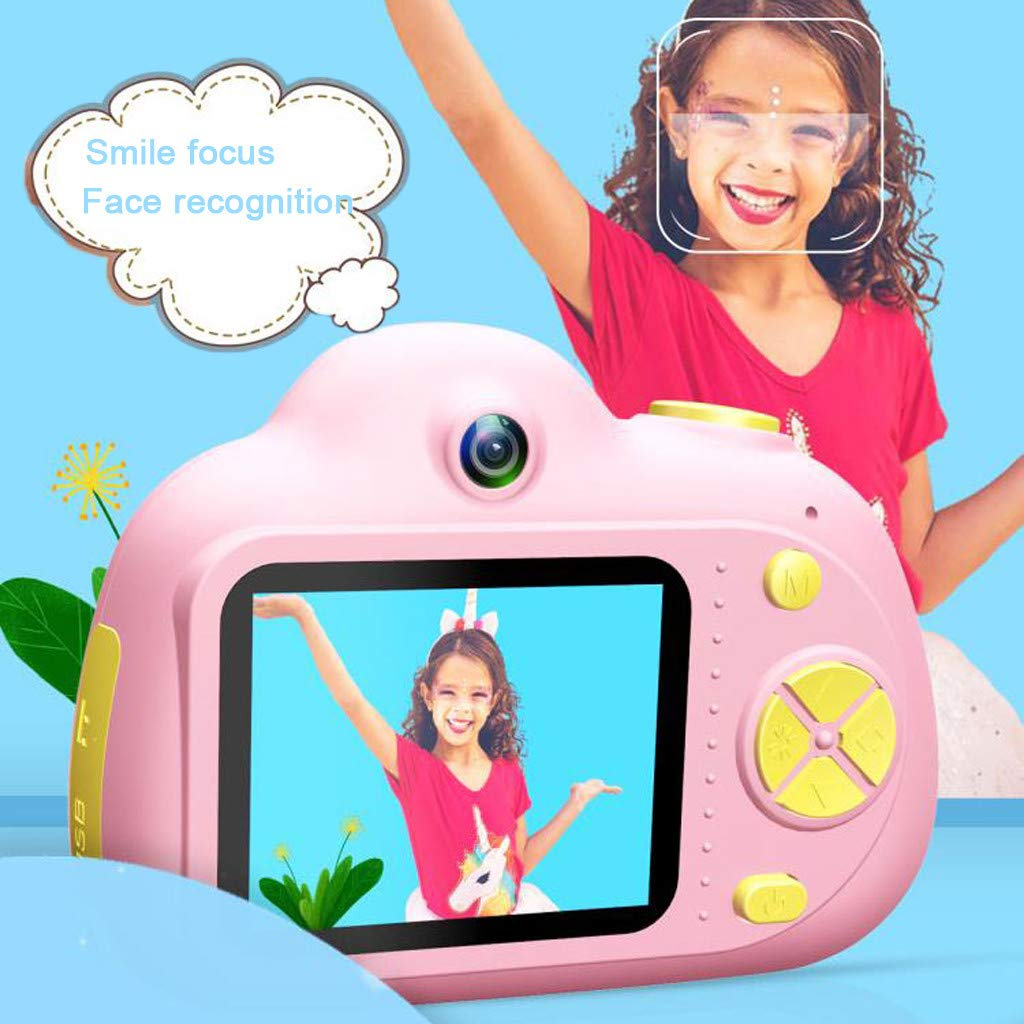 Kids Compact Camera Toys Witspace 8MP HD Video Camera Gifts Front/Rear Cameras Battery Powered for Aged 3-10 (Pink) by Witspace-Toys and Games (Image #1)