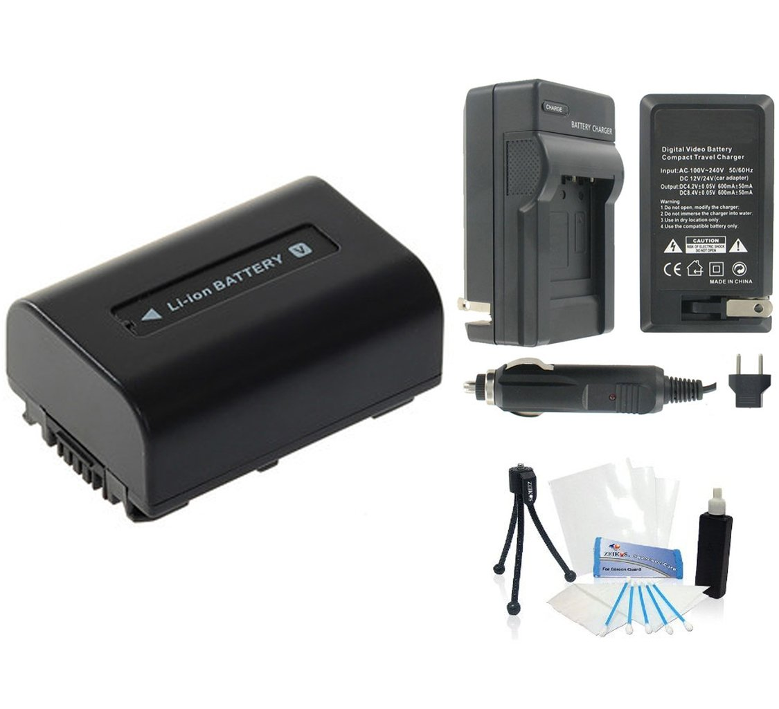 NP-FV30 High-Capacity Replacement Battery with Rapid Travel Charger for Select Sony Digital Cameras. UltraPro Bundle Includes: Camera Cleaning Kit, Camera Screen Protector, Mini Travel Tripod