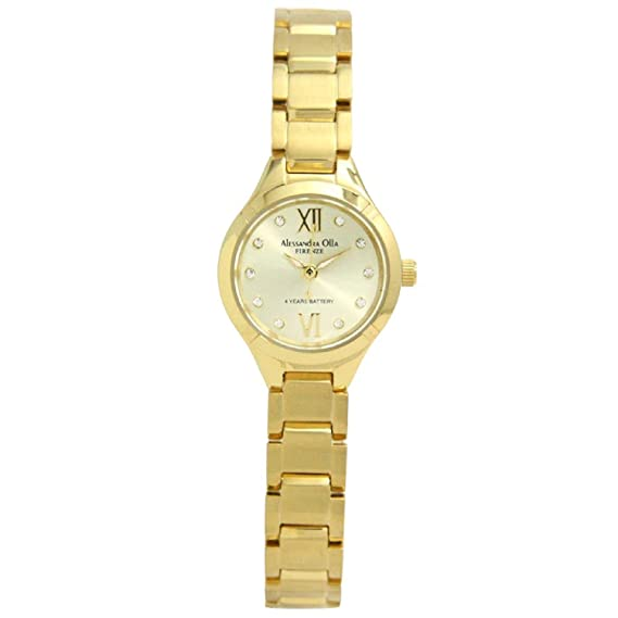 Amazon.com: Alessandra Olla watch 10P clear QB zirconia All stainless Gold AO-335-3 Ladies: Watches
