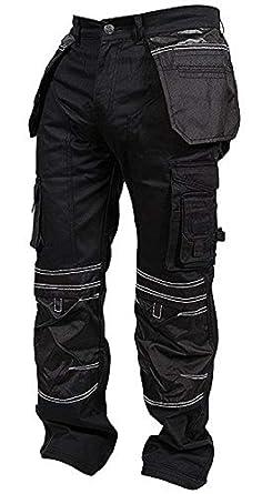 6d0e8ac9fc Newfacelook Mens Work Trousers Worker Wear Cargo Heavy Duty Working Pants  Workwear Black