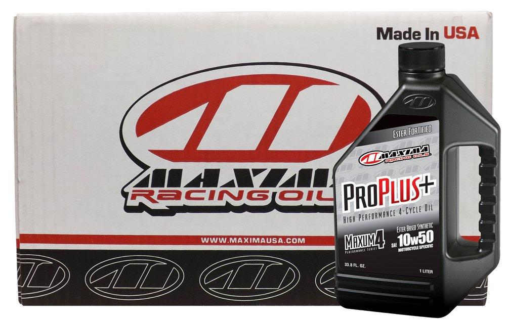 Maxima Racing Oils CS30-19901-12PK-12PK 10W-50 Pro Plus+ Synthetic Motorcycle Engine Oil - 12 L, (Pack of 12)