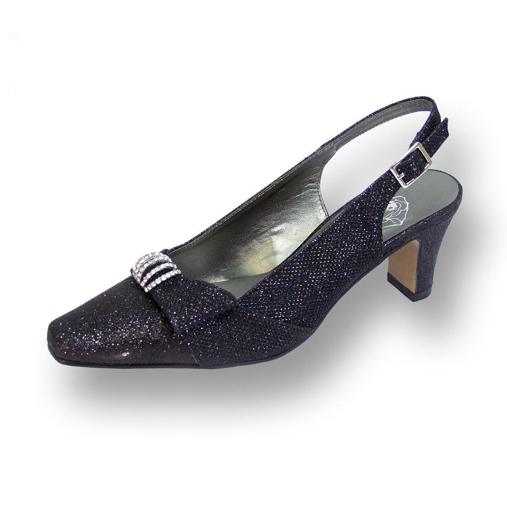 Floral FIC Emma Women Wide Width Evening Dress Shoe for Wedding, Prom, Dinner (Size/Measurement Guides) B01B44GFE0 8 E|Black