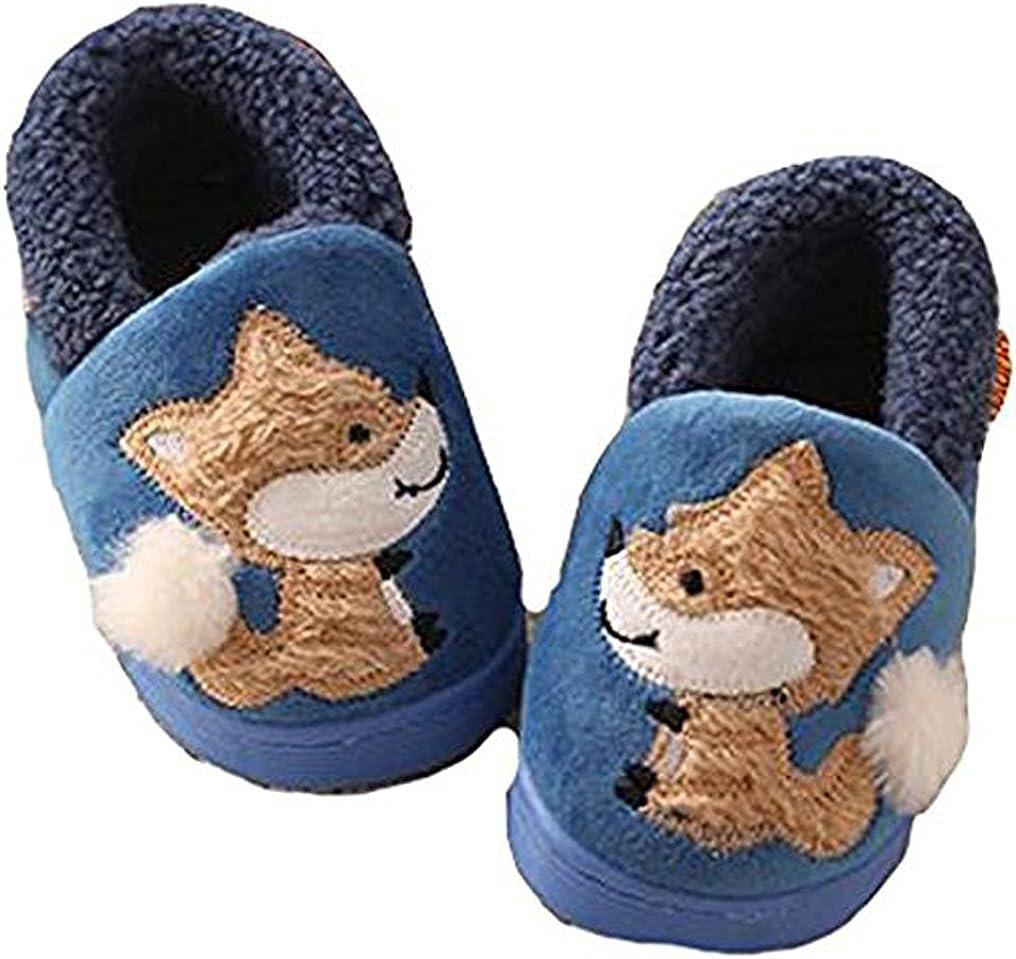 Amazon Com D S Mor Kid S Fox Plush Warm Slippers Bedroom Slippers Children S Slippers 13 5 M Blue Slippers