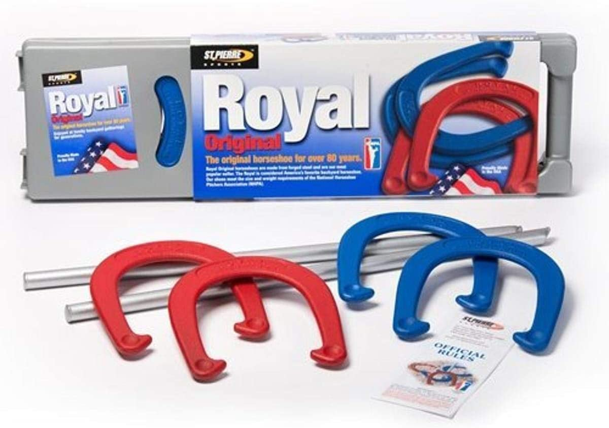 St. Pierre Royal Classic Horseshoes Set with 4 Horseshoes, 2 Steel Stakes, and Rule Book : Horseshoe Games : Sports & Outdoors