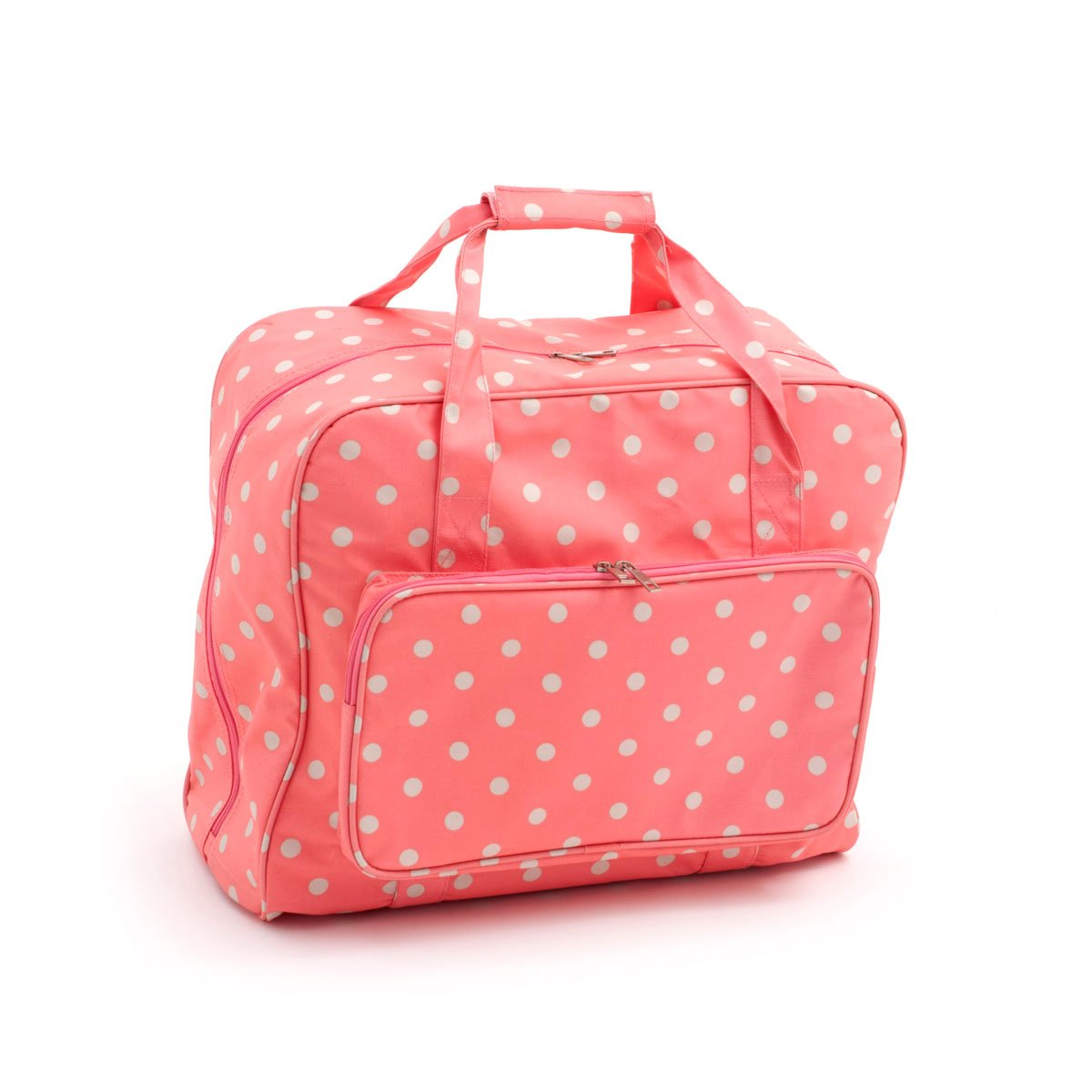 Hobby Gift MR4660\262 PVC Oil Cloth, Sewing Machine Carry Bag Case Pink Coral Spots, for Singer, Janome, Brother, Toyota HobbyGift