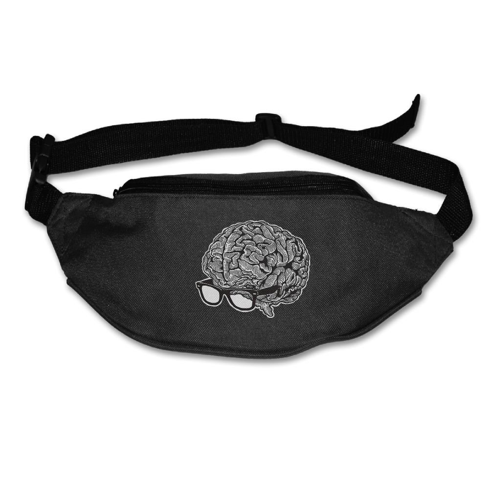 Janeither Unisex Pockets Brain With Glasses Fanny Pack Waist/Bum Bag Adjustable Belt Bags Running Cycling Fishing Sport Waist Bags Black