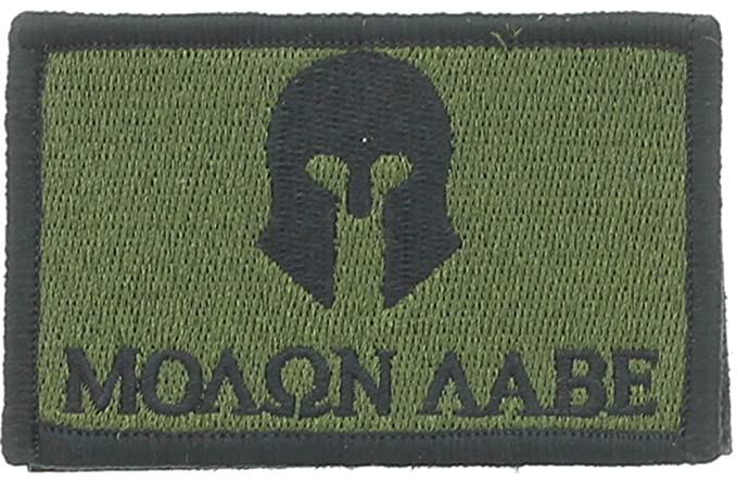 667daf1957a Image Unavailable. Image not available for. Color  Molon Labe Spartan Helmet  Patch Olive   Black ...