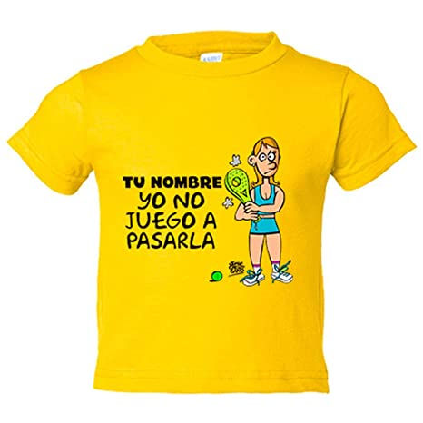Camiseta niño padel ella yo no juego a pasarla personalizable con nombre - Amarillo, 3