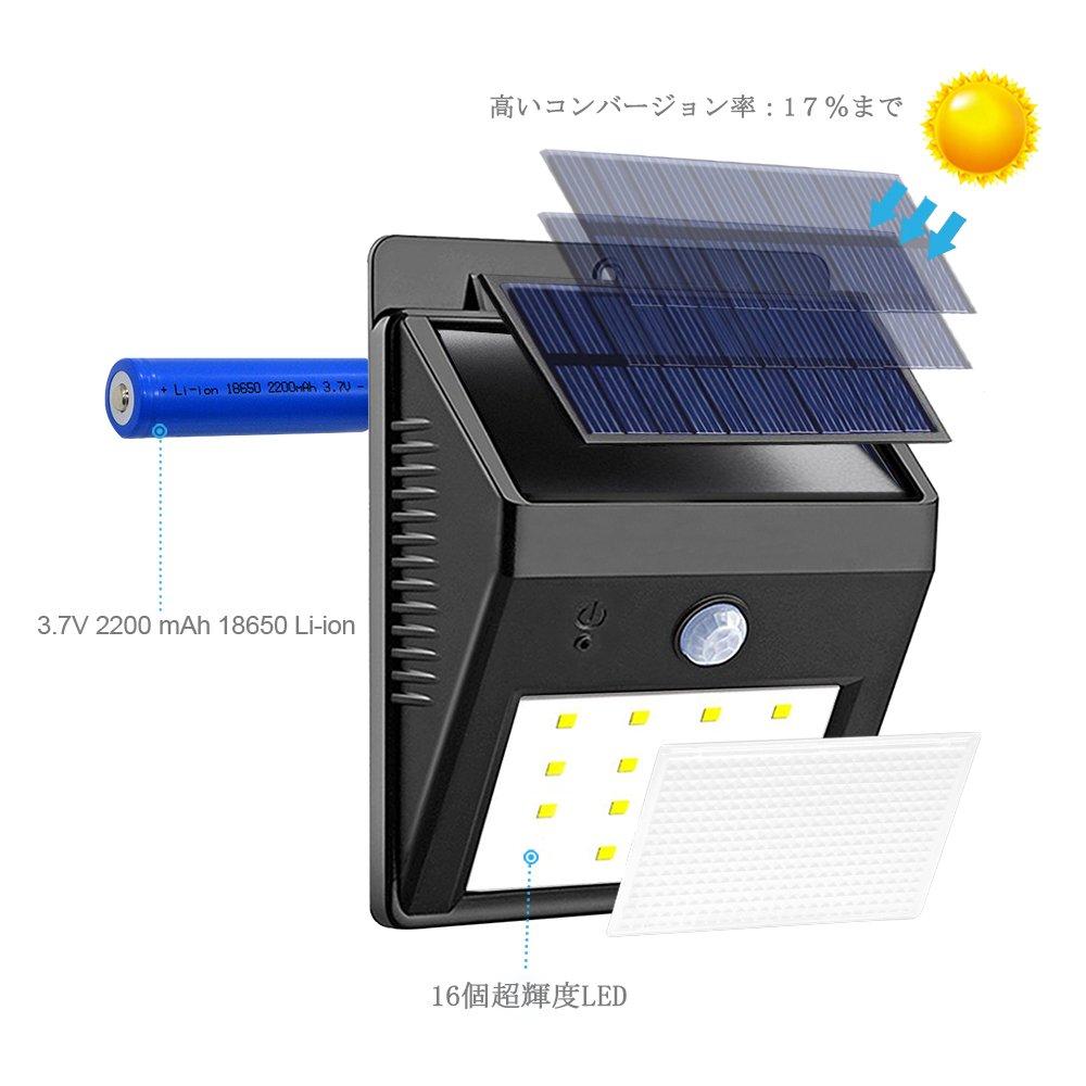 16LED ワイヤレス 人感 センサー ライト (屋外照明 夜間自動点灯), Solarmk® ソーラー 太陽発電 防水 壁掛け式 電気 (防犯防災 玄関 ガーデン 駐車場 庭 軒先 テラス ガレージ 対応)- 2点セット