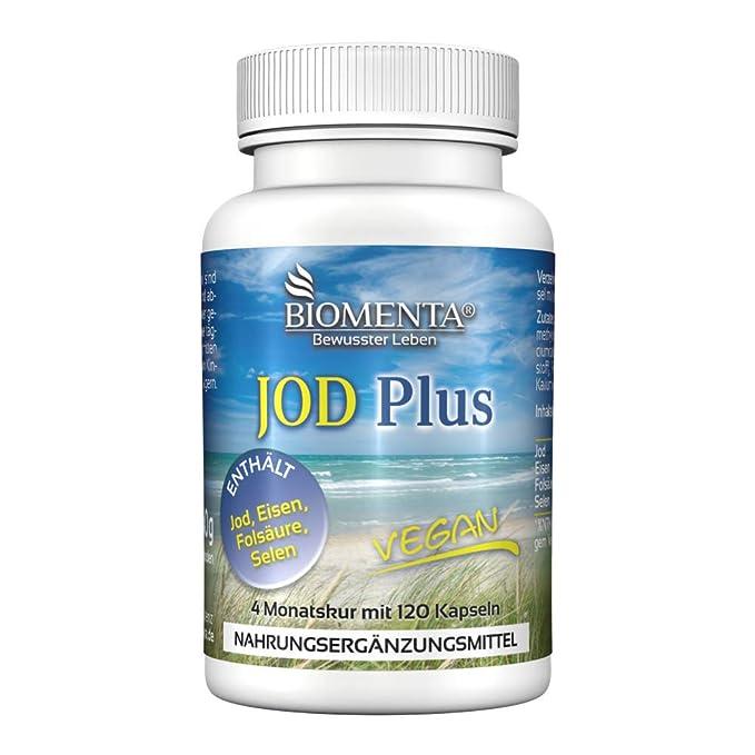 Biomenta Yodo Plus - yodo dosis alta + Eisen + ácido fólico + Selenio - 120 vegetariano pastillas de yodo: Amazon.es: Salud y cuidado personal