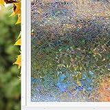 Zindoo Glass film No-Glue Static Decorative 3D Window Film Privacy Glass Window Film Sticker Film Sticker Anti-UV (44.5CM x 200CM) Rainbow Pattern Upgrade Version for Home Kitchen Office.