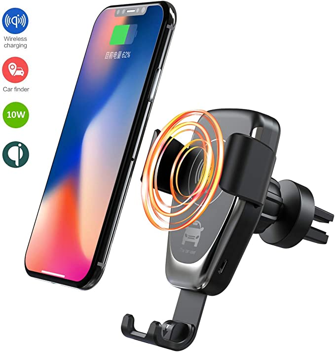 ANKCE 10W Wireless Car Charger Mount, 2 in 1 Car Air Vent & Dashboard Phone Holder Charging for iPhone XXSXmax88 Plus,Samsung S8S9, Huawei Mate