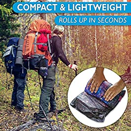 Foxelli Sleeping Pad – Comfortable & Compact Self Inflating Sleeping Mat with Pillow, Lightweight, Moisture-Proof Camping Pad, Perfect for Hiking & Backpacking