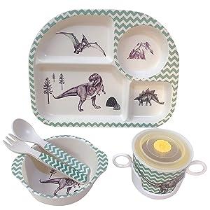 Shopwithgreen 5Pcs/Set Bamboo Kids Dinnerware Set - Children Dishes - Food Plate Bowl Cup Spoon Fork Set Dishware, Cartoon Tableware, Dishwasher Safe Kids Healthy Mealtime, BPA Free (Dinosaur)