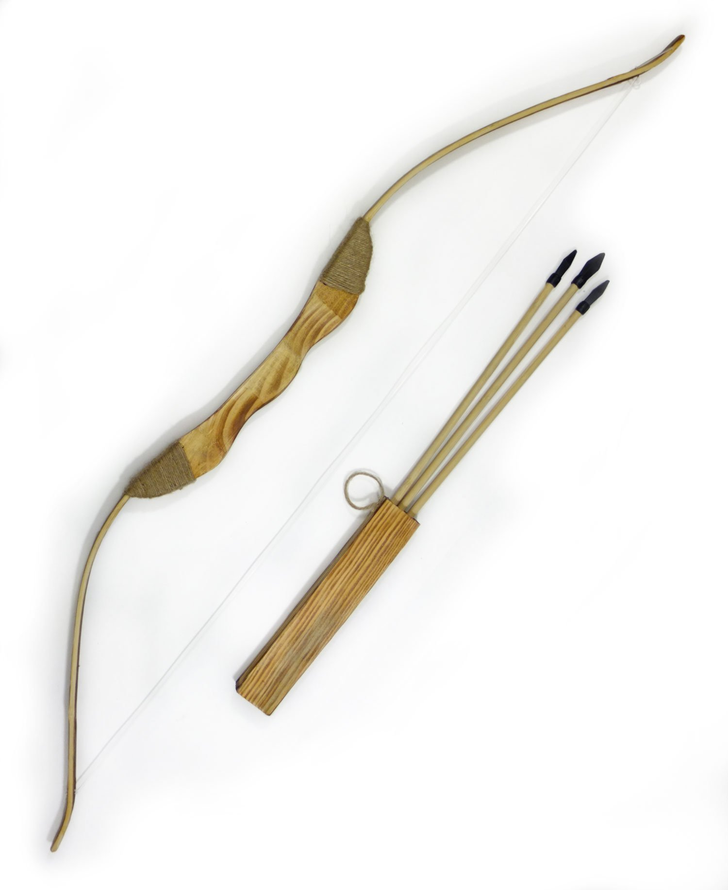 Children's Wooden Toy Bow and Arrow Set with Quiver and Three Rubber Tipped Arrows.