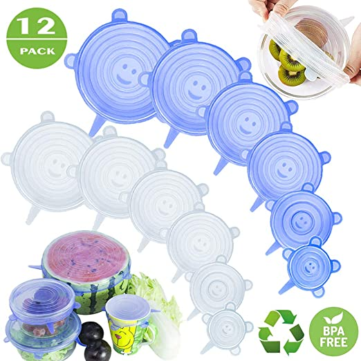 Silicone Lids Covers Flexible BPA free Sealer Snacks Fruit Lunch Blue