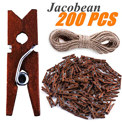 KICOCO Mini Clothespins, 200 PCS Wooden Retro Tiny Clothespins 1.0 Inch with 33 FT Jute Twine, Multi-Function Small Clothespins for Photos Crafts Paper Peg Pin Décor - Jacobean