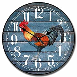 Barnwood Blue Rooster Wall Clock, Available in 8 sizes, Most Sizes Ship 2 - 3 days, Whisper Quiet.