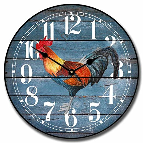 Barnwood Blue Rooster Wall Clock, Available in 8 sizes, Whisper Quiet, non-ticking
