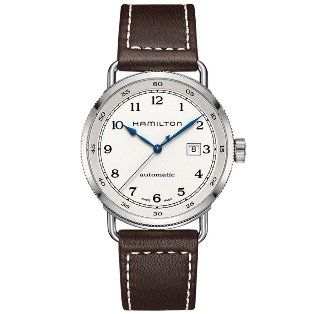 2f9bff02c56 Amazon.com  Hamilton Khaki Navy Pioneer Silver Dial SS Leather Automatic  Men Watch H77715553  Hamilton  Watches