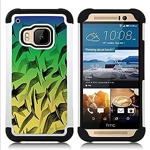BullDog Case - FOR/HTC ONE M9 / - / Neon Birds Pattern /- H??brido Heavy Duty caja del tel??fono protector din??mico - silicona suave